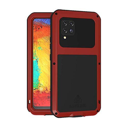 LOVE MEI Funda para Samsung Galaxy A42 5G, Heavy Duty al Aire Libre de Armadura Metal Estuche Protectora Carcasa Antigolpes Impermeable a Prueba de Polvo Cubierta con Vidrio Templado (Rojo)