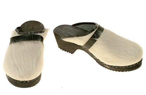 berlin-clogs - Kuhfell Clog, Farbe: Weiss mit schwarzer Sohle, Groesse: 41