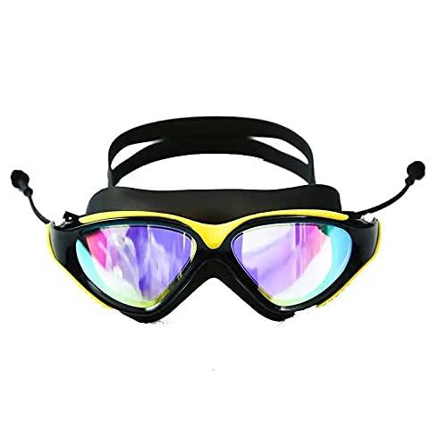 JFCXBSSL Gafas de natación de silicona blanca Gafas de natación Big Box Galvanoplastia impermeable y antivaho macho hembra Hd a prueba de fugas Gafas de natación