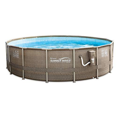 Summer Waves 16ft x 48in Elite Wicker Print Above Ground Frame Pool Set w/Pump