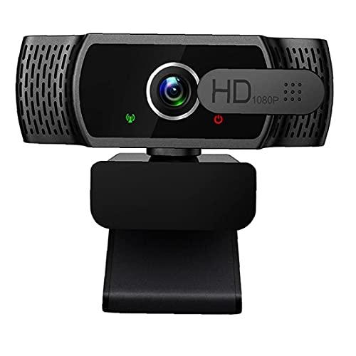 FeelMeet 1080P Web Informática Foto Cámara USB Webcam con micrófono Cubierta de privacidad para el Ordenador portátil de Escritorio Mac TV Videoconferencia Juego Negro