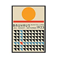 バウハウス抽象ポスターカラーパターンヴィンテージウォールアートモダンキャンバス絵画とリビングルームのプリント家の装飾画像50x70cmX1フレームなし