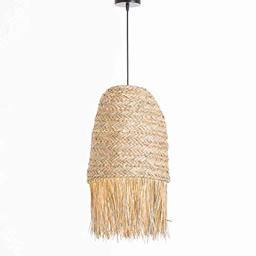Lámpara de Techo Colgante de Ratán y Hierro Boho Rústica Color Natural | Modelo KAM 7hSevenOn Deco | Lámpara de Techo para Salón, Comedor. | Lámpara 30x30x40cm