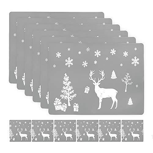 Auckpure Platzdeckchen Weihnachten Abwaschbar Tischsets with 6 Stück Tischset Weihnachten und 6 Stück Platzset, rutschfeste Elch-Tischset Geeignet für Weihnachtsferien Küchentischdekoration