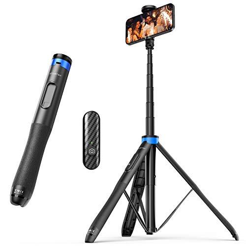 ATUMTEK Palo Selfie Trípode 130cm – Palo Selfie para Móvil con Bluetooth, con Aluminio Resistente y Trípode de Patas Antideslizantes para iPhone/Android, Grabación de Videos, Vlogs - Azul