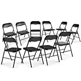 JAXPETY New 10-Pack Commercial Plastic Folding Chairs Stackable Wedding Party Chair w/Soft Cushion (Black)