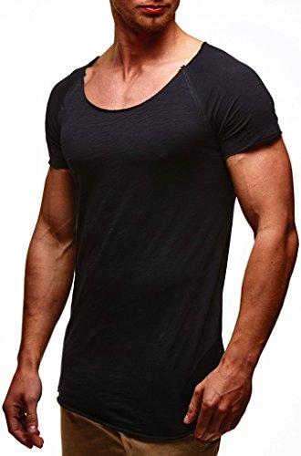 Leif Nelson Herren Sommer T-Shirt Rundhals-Ausschnitt Slim Fit Baumwolle-Anteil Moderner Männer T-Shirt Crew Neck Hoodie-Sweatshirt Kurzarm lang LN6340N Schwarz Large