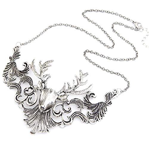 Forbestest Hohle Metall Rotwild-Kopf-Form-hängendes Halskette Tier Kragen-Halskette