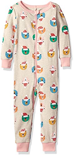 Gymboree Baby Girls 1-Piece Tight Fit Long Sleeve Pajama, Bear Holiday Hat Faces, 2T