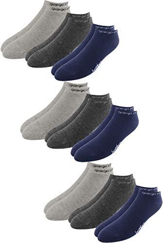 Giorgio Capone Premium bamboe sneakersokken, 9 stuks, superzacht, hoog draagcomfort, lichtgrijs, antraciet, donkerblauw: 39-42, 43-46