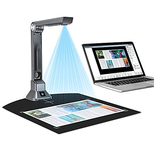GJCrafts Cámara de Documentos portátil Escáner portátil de Alta definición OCR en Varios Idiomas Escáner de Libros, tamaño de Captura A4 Potente Software para Oficina y educación