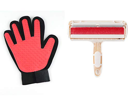 cat hair remover furnitures SuperB Pets Hair Brush Glove and Lint Rollers, Lint Remover Rollers with Brush Head for Dog & Cat Hair Removal, Clothes, Furnitures, Car, Laundry