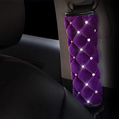 eing Plush Handbrake Cover Gear Shift Cover Seat Belt Cover 3 PCS/Set Car Interior Set Accessories Decor,Purple