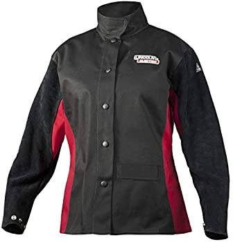 Lincoln Electric Women s Leather Sleeved Welding Jacket | Premium Flame Resistant  FR  Cotton Body | Women s Small | K3114-S