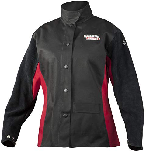 Lincoln Electric Women's Leather Sleeved Welding Jacket |  Premium Flame Resistant (FR) Cotton Body | Women's XS | K3114-XS