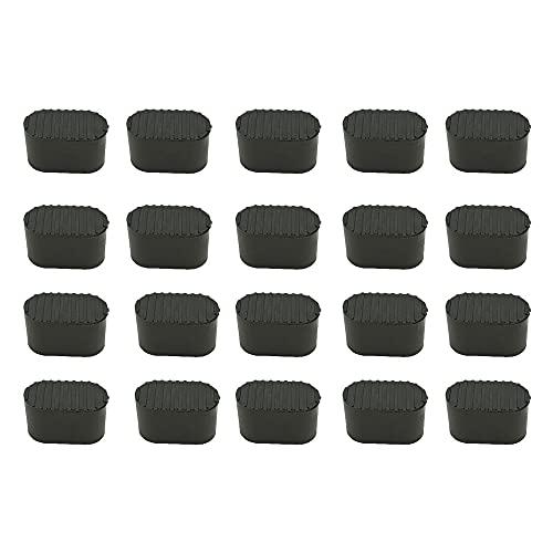 Kaimeilai 20pcs Stuhlbeinkappen, Stuhlbeinkappe Stuhlbeinschutz, Bodenschutz Fußkappen, Stuhlbeinkappen Kunststoff für Ovalrohre, für Gartenstühle Klappsessel Ovalrohr, Hartplastik