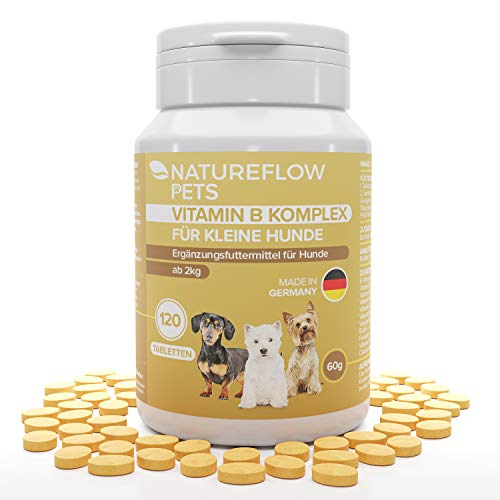 Natureflow Vitamin B Complex for Dogs - Essential vitamin B for dogs from 2 kg - 120 vitamin tablets - Added K3, folic acid, calcium, biotin for dogs - Dog supplements Made in Germany