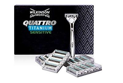 Wilkinson Sword Quattro Titanium Sensitive Men's Razor with Blades, 16-Pieces