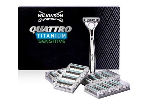 Wilkinson Sword Quattro Titanium Sensitive - 1 Maquinilla de Afeitar de 4 Hojas de Titanio para Hombre + 17 Recâmbios de Cuchillas de Afeitar, Gris