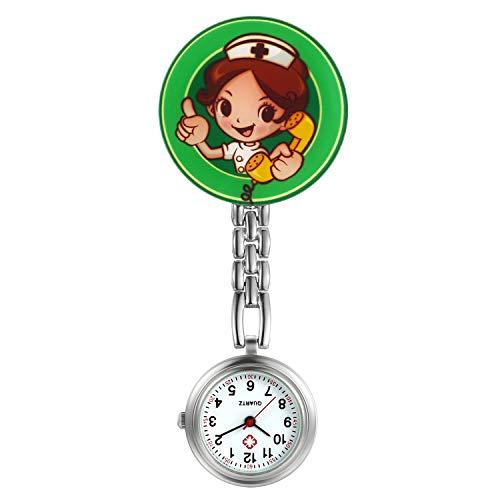 Reloj de enfermera para mujer y niña, diseño de caricatura, diseño de solapa con clip para médico, diseño de estetoscopio de cuarzo