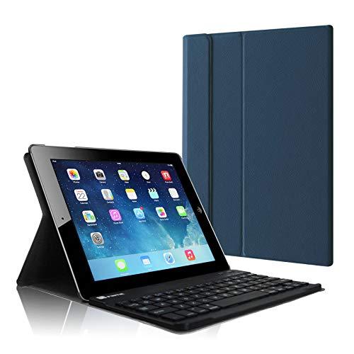 Fintie Tastatur Hülle für iPad 2 / iPad 3 / iPad 4 - Ultradünn leicht SlimShell Ständer Schutzhülle Keyboard Case mit magnetisch Abnehmbarer drahtloser Deutscher Bluetooth Tastatur, Marineblau