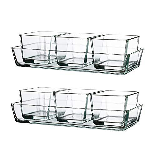 IKEA MIXTUR Ofenform Servierschale Klarglas 4er Set Pack of 2 (Total 8, Set of 4 Each) Klarglas