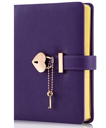 CAGIE Heart-Shaped Lock Diary with Key, Leather Journal Diary with Lock for Girls, B6 Cute Locking Journals for Kids, Purple