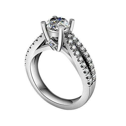 Adokiss Anillo de plata para mujer, anillos de compromiso para mujer, 4 garras de engaste, color blanco, redondo brillante, circonita, talla 50 (15,9), regalo de cumpleaños para novia