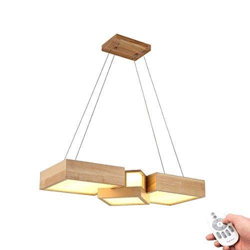 Lampe à suspension LED moderne à intensité variable - En bois - Rectangulaire - Réglable en hauteur - Pour salle à manger, salon, bureau, restaurant, café, studio - Avec télécommande