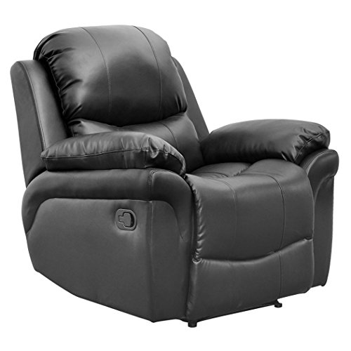Madison Bonded Leather Recliner Armchair Sofa Home Lounge Chair Reclining Gaming (Black)