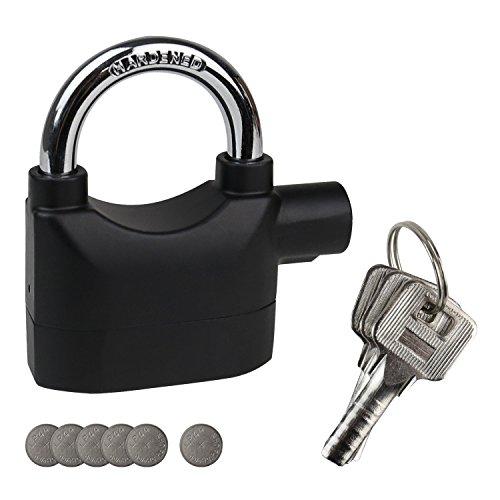 HMF 3503-02 Lucchetto con funzione di allarme, 110dB, Outdoor, 9,8 x 7,1 x 3,35 cm, nero