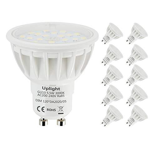 Uplight 5.5W Dimmerabile GU10 Lampadina LED,Bianco Caldo 3000K,Equivalenti 50-60W GU10 Alogena Faretti,600LM RA85,10 Pezzi.