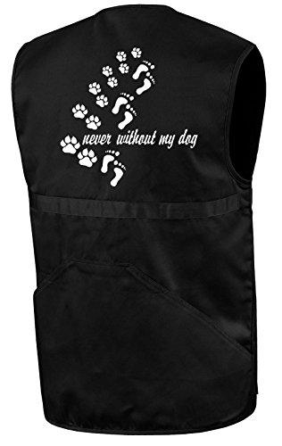 Hundesport-Weste | never without my dog | Schwarz | Brust- und Rückendruck | Größe M