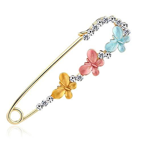 Xinllm Broches Imperdibles Grandes Broche de Diamantes de imitación Broche, Broches de Bufanda para Mujer Señoras Broche Gran alfileres de Seguridad Blue&Pink