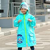 Kids Chubasquero con Capucha Emergencia Chaqueta Impermeable para Niños Rain Poncho Lluvia Rain Wear Cute Unisex Storm Break Rain Slicker para Chicos Chicas ( Color : Light blue 2PCS , Size : M )