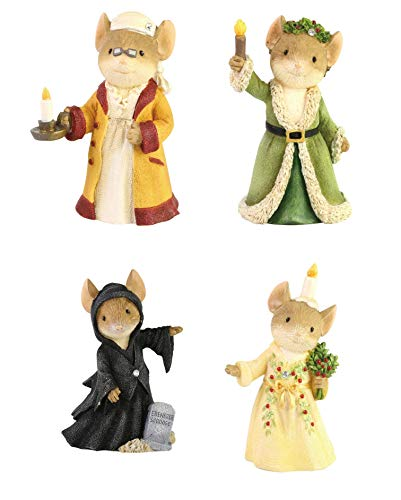 Enesco Gift Christmouse Carol Bundle of 4 Miniature Mice Figurines, Scrooge Christmas Past Present Future Ghosts