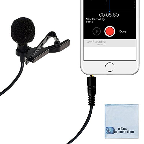 eCostConnection Lavalier omnidirectional Condenser Professional Microphone with 3.5mm TRRS Plug, Noise Cancelling windscreen and Metal Clip for iPhone, Android and More Smartphones + Microfiber Cloth