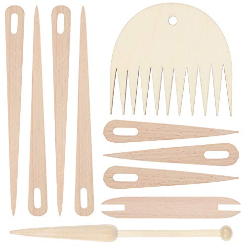 10 Pieces Wood Hand Loom Stick Set, Include 7 Pcs Wood Weaving Crochet Needle, 1 Pack Shuttles, 1 Pack Weaving Stick and 1 Pack Wood Weaving Comb for Knitted Crafts DIY