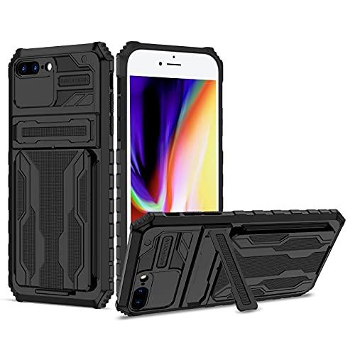 Lijc Compatible con Funda iPhone 7 Plus/8 Plus [Protector de Pantalla] con Pata de Cabra Titular de la Tarjeta Extraíble Cubrir Silicona Suave TPU + Duro PC Antigolpes Caso-Negro
