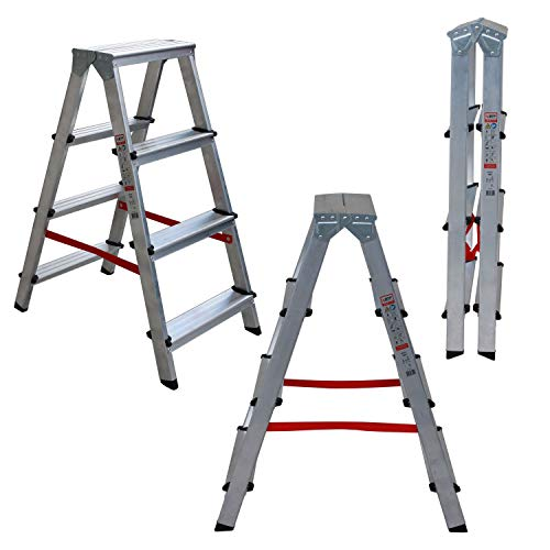 Nawa escabeau double pliant 4 marches aluminium antidérapant hauteur max. accessible des deux côtés 2 x 4 niveaux charge max. 150 Kg. Fabriqué en Europe