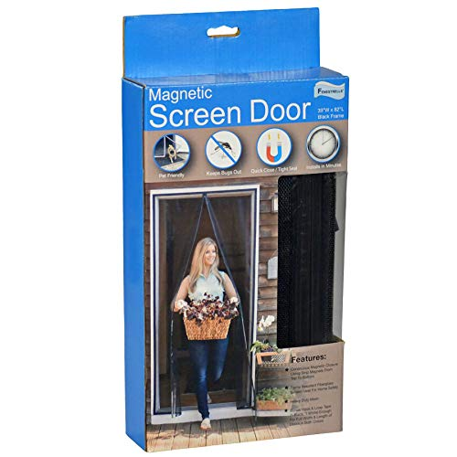 Fenestrelle Magnetic Screen Door - Fits Doors Up to 36'W x 80'H - Black Trim - Super Tight Self Closing Magnetic Seal - Heavy Duty Flame Resistant Fiberglass Mesh - Includes Full Frame Mounting Tape