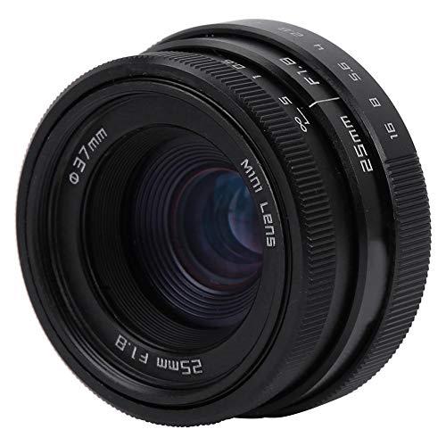 広角レンズ25mm F1.8ミニCCTV Cマウント広角レンズ アルミニウムハウジング レンズ、バー、ショップ、駐車場、家屋用12枚のオープニングブレード(黒)
