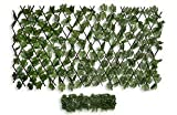 HERSIG - Celosía Extensible con Hojas Decorativas de Color Oscuro - 90x120cm