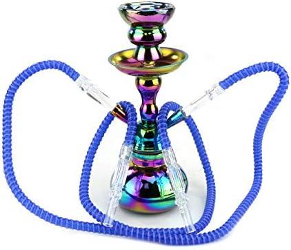 """GStar 11"""" Premium 2 Hose Hookah Complete Set - Mini Pumpkin Hookah Glass Vase - Pick Your Color (Black)"""