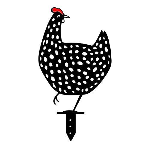 Metall Hahn Tier Silhouette Pfahl, Lebensechte Henne, Huhn Hof Kunst, Huhn Silhouette Hof Kunst Dekorative Garten Pfähle, Land Hof Kunst Metallkunst Für Garten Höfe Weg Schatten Dekoration (D)