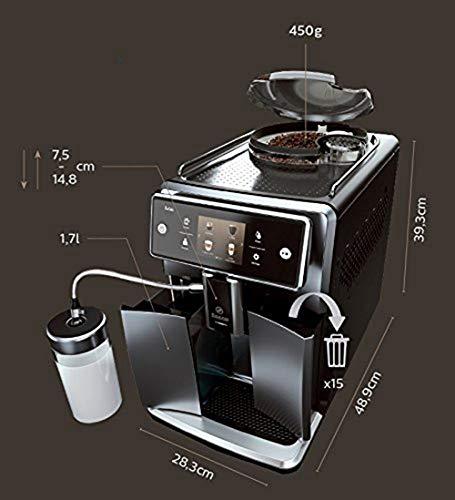 Saeco SM7683/10 Xelsis Kaffeevollautomat 15 Kaffeespezialitäten (Touchscreen, 6 Benutzerprofile), 18/8, Edelstahl/Schwarz - 5