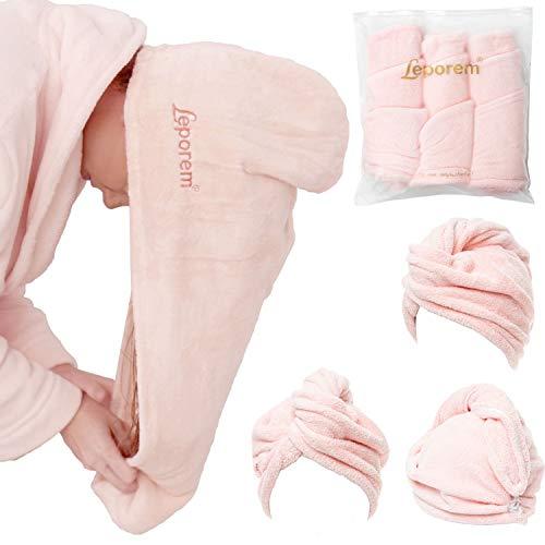 Paquete de 3 toallas de microfibra para el pelo – grande de 25,4 x 66 cm, súper absorbente y de secado rápido turbante para cabello seco, rizado, largo y grueso, hermoso abrigo de toalla de reparación del cabello para mujeres, niños, gorras de pelo de secado rápido