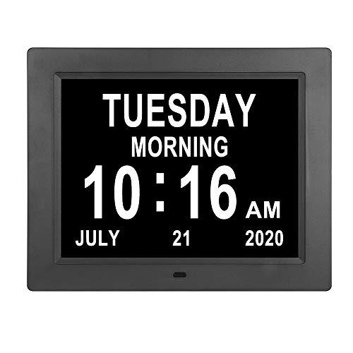 21,6 cm Digitaler Tageskalenderuhr, 8 Alarme, automatische Dimmung, extra groß, nicht abgekürzt, Tages-/Datumsanzeige, Demenz-Uhren für Senioren, ältere Menschen, Sehschwäche, Gedächtnisverlust