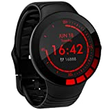 Pard Young Men Smart Watch, Full Touch Fitness Tracker with Heart Rate Blood Pressure Monitor, IP68 Waterproof Pedometer with Sleep Monitor, Black