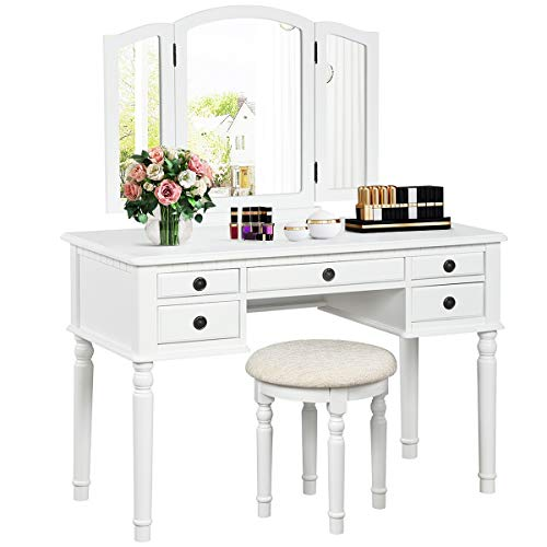 CHARMAID Vanity Set with Tri-Folding Mirror and 5 Drawers, Modern Bedroom Vanity Table with Detachable Top and 180° Rotating Mirror, Makeup Dressing Table with Cushioned Stool for Women Girls (White)